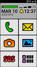 Imagen de la pantalla inicial de un teléfono móvil Android adaptado con la interface BIG Launcher
